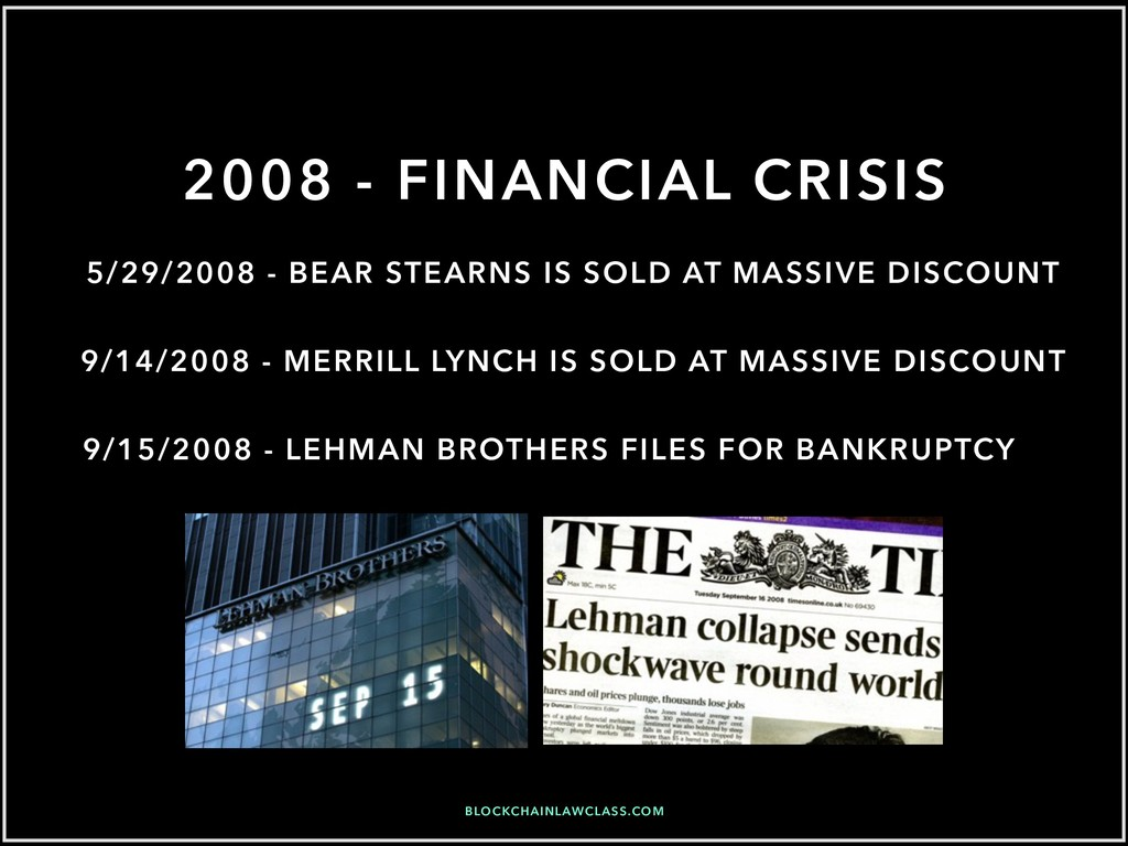 2008 - FINANCIAL CRISIS 9/15/2008 - LEHMAN BROT...