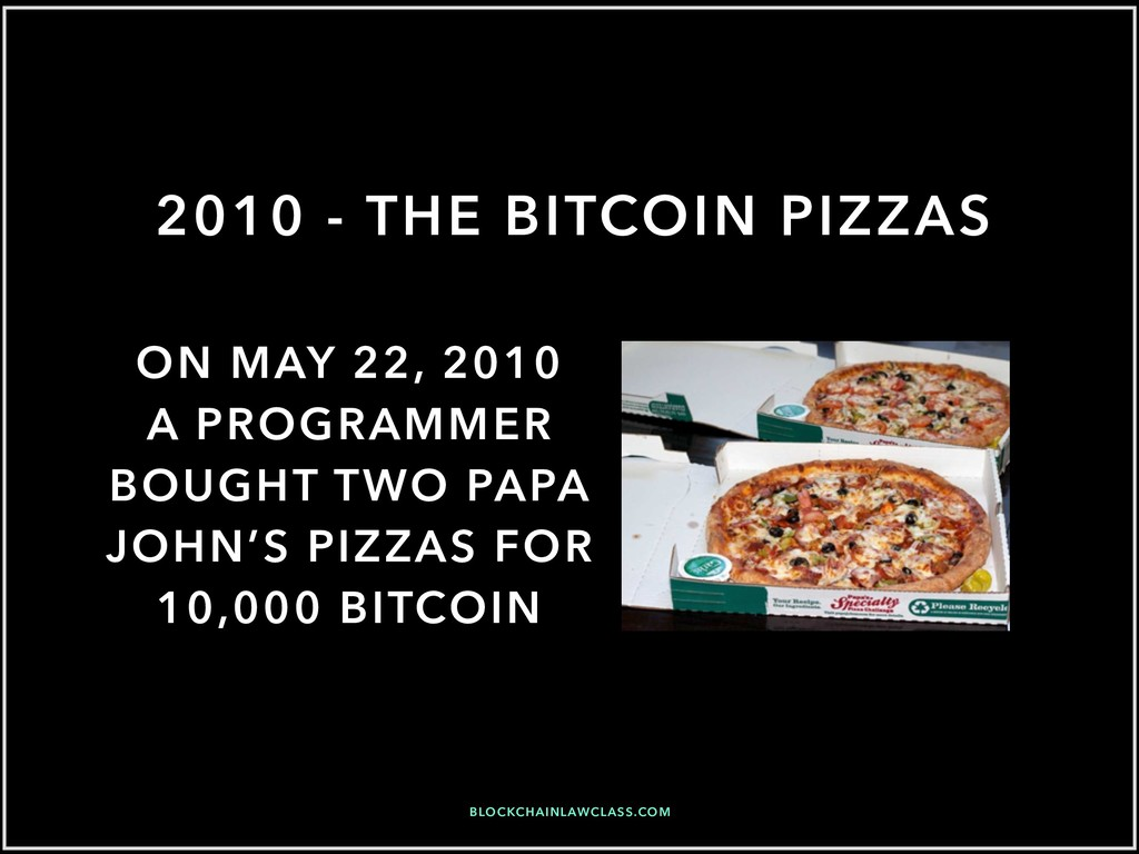 2010 - THE BITCOIN PIZZAS ON MAY 22, 2010 A PRO...