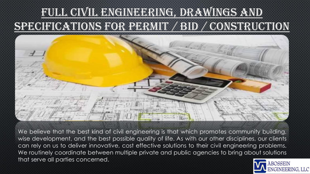 FULL CIVIL ENGINEERING, DRAWINGS AND SPECIFICAT...