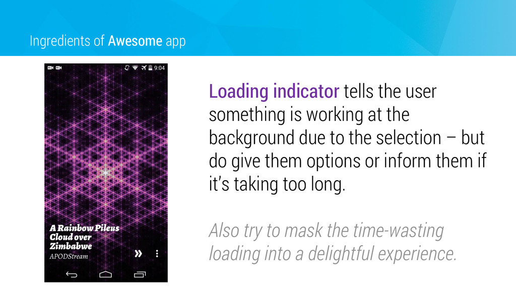 Ingredients of Awesome app Loading indicator te...