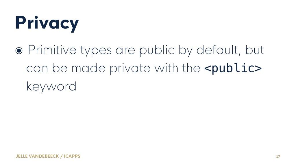 Privacy ๏ Primitive types are public by default...