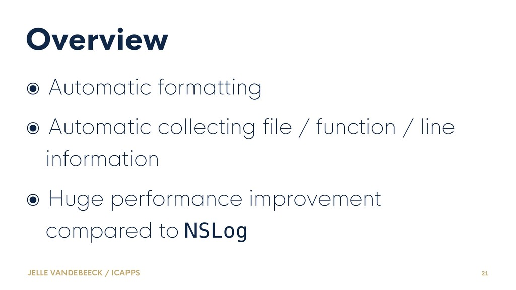 Overview ๏ Automatic formatting ๏ Automatic col...