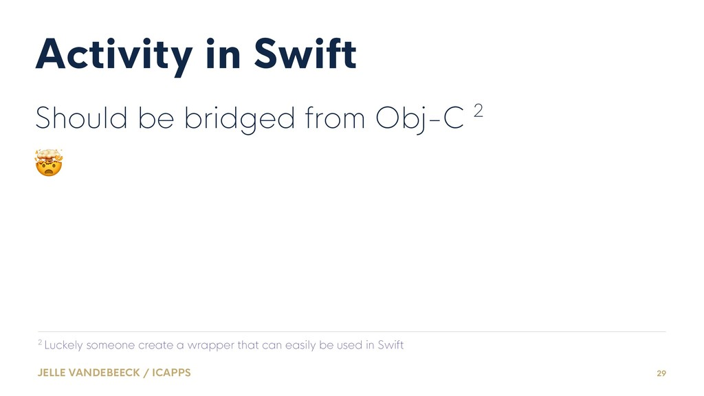 Activity in Swift Should be bridged from Obj-C ...