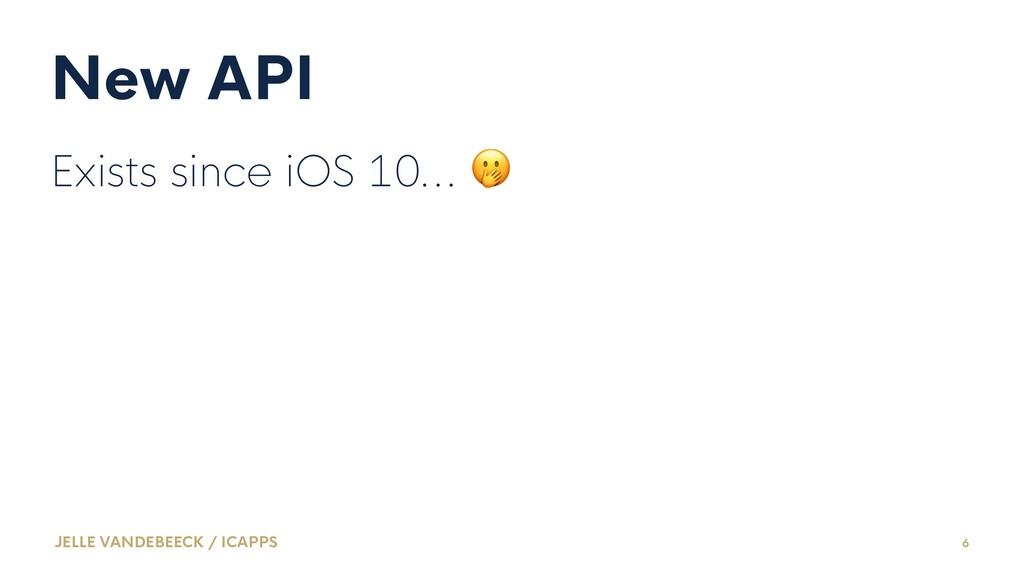 New API Exists since iOS 10... ! JELLE VANDEBEE...