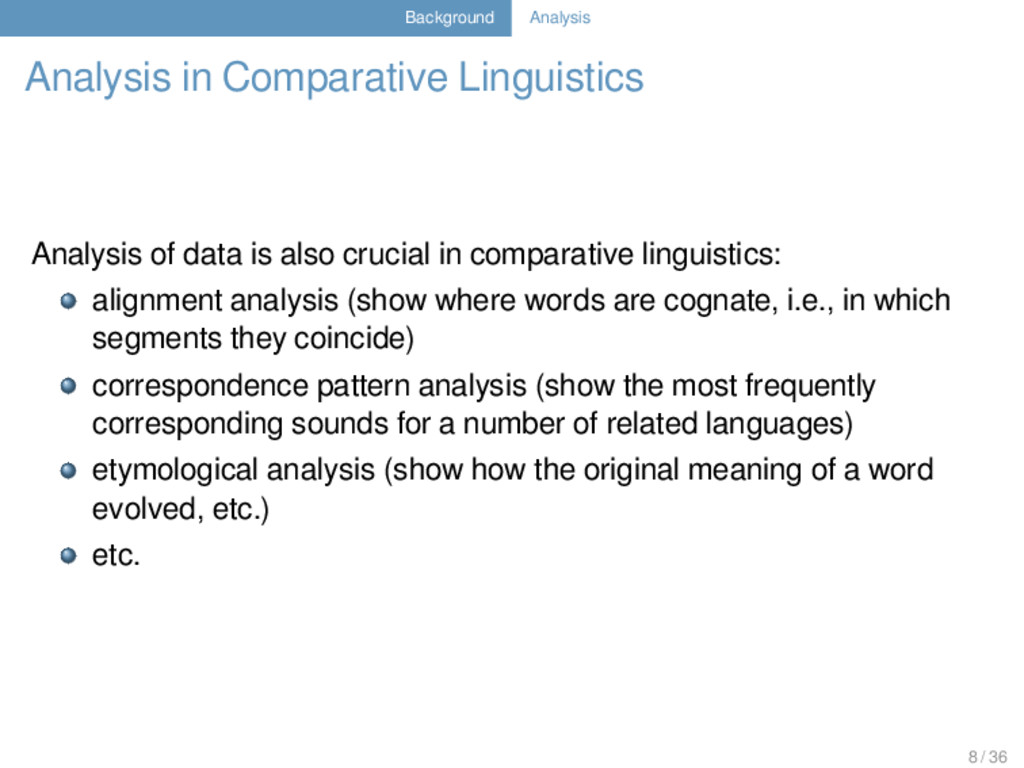 Background Analysis Analysis in Comparative Lin...
