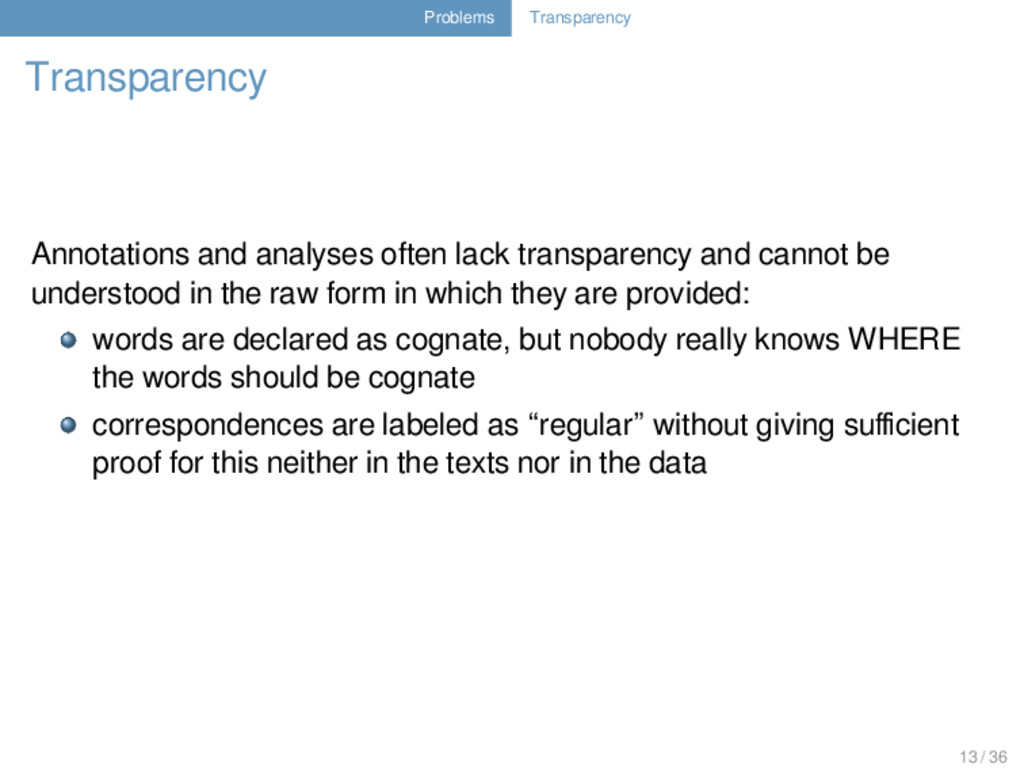 Problems Transparency Transparency Annotations ...
