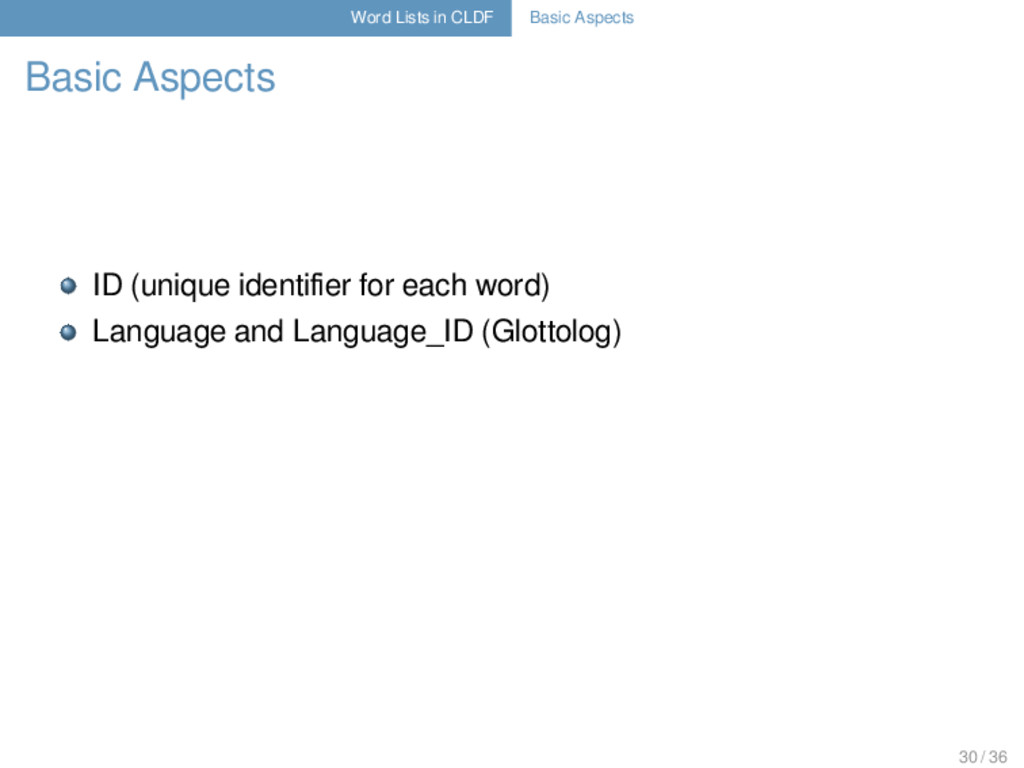 Word Lists in CLDF Basic Aspects Basic Aspects ...