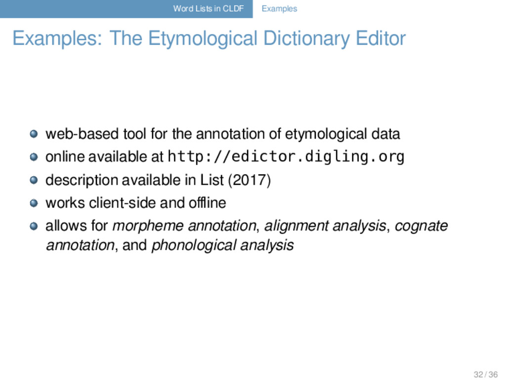 Word Lists in CLDF Examples Examples: The Etymo...