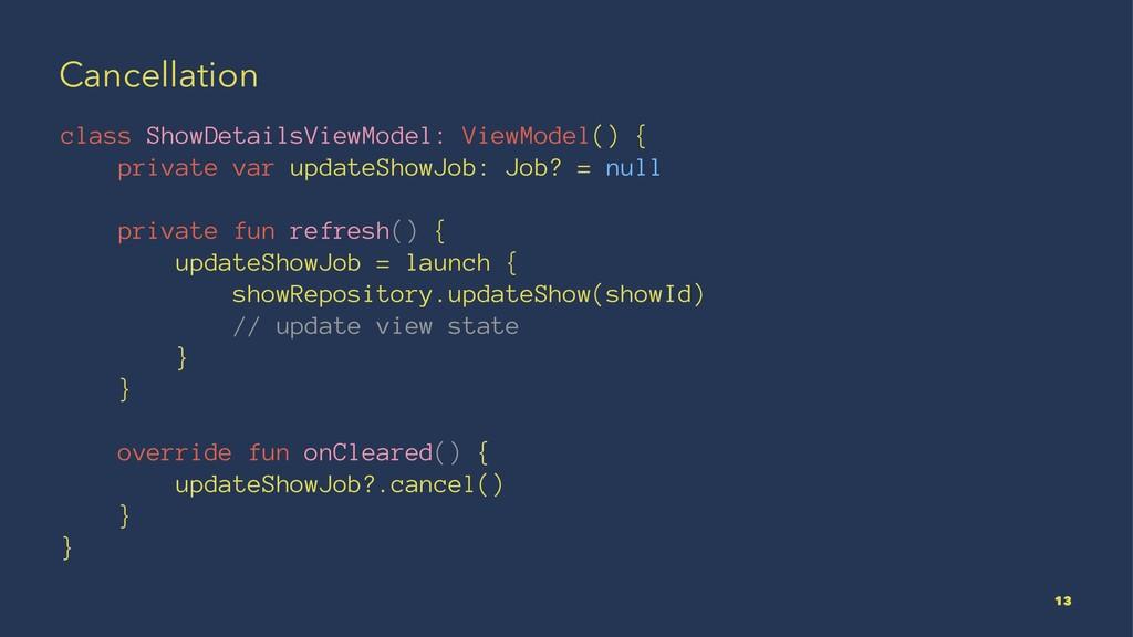 Cancellation class ShowDetailsViewModel: ViewMo...