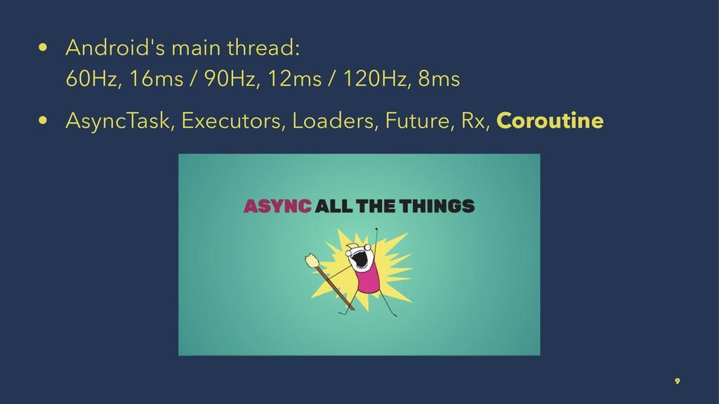 • Android's main thread: 60Hz, 16ms / 90Hz, 12m...