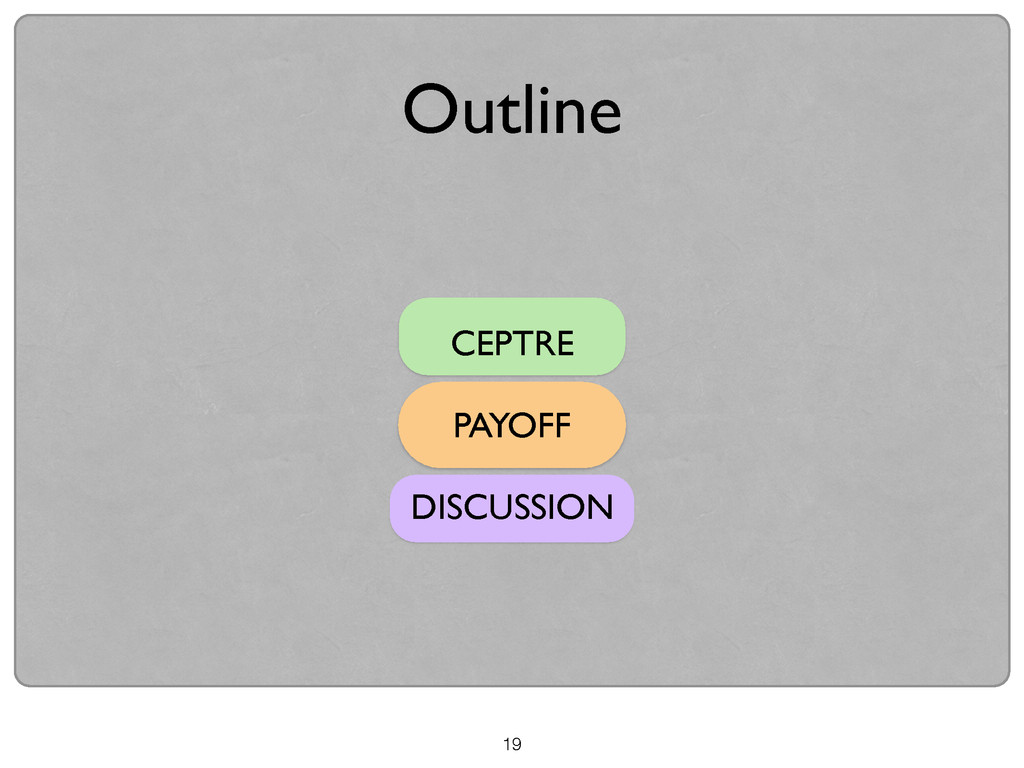 19 CEPTRE  ! PAYOFF  ! DISCUSSION Outline