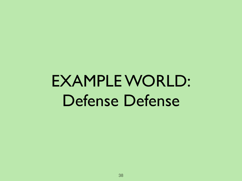 38 EXAMPLE WORLD:  Defense Defense