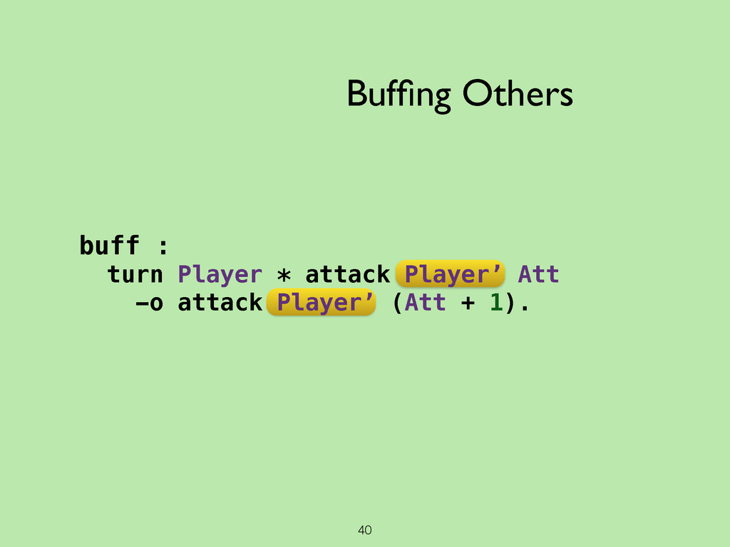 40 Buffing Others buff : turn Player * attack Pl...
