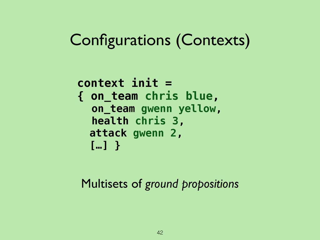 42 Configurations (Contexts) context init = { on...
