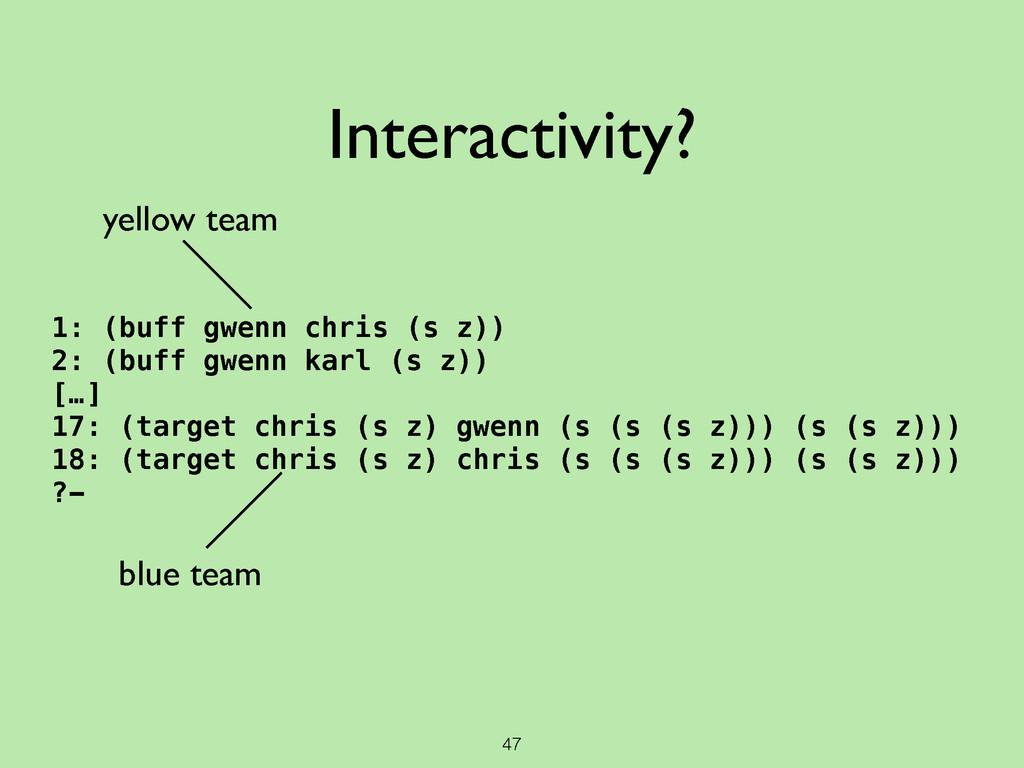 47 Interactivity? 1: (buff gwenn chris (s z)) 2...