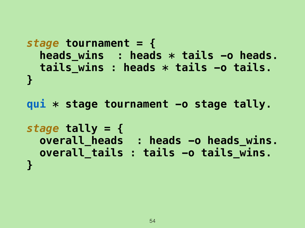 54 stage tournament = { heads_wins : heads * ta...