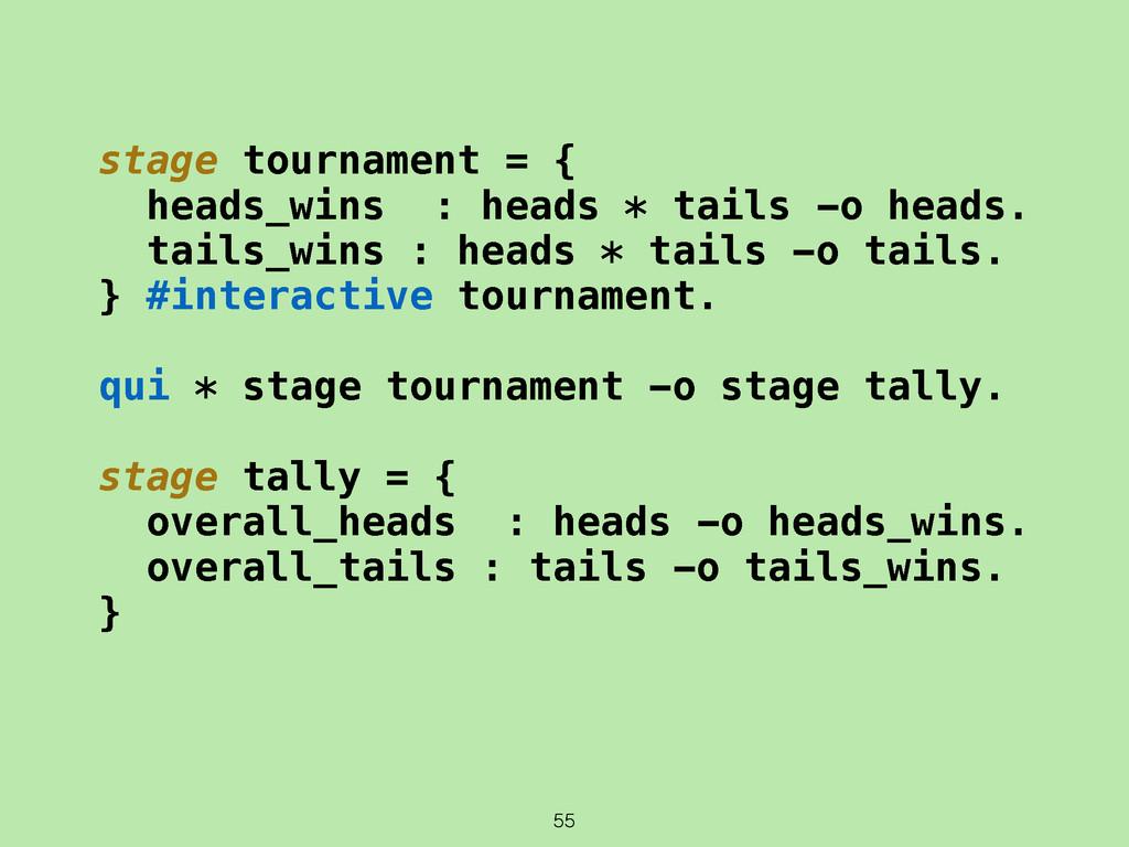 55 stage tournament = { heads_wins : heads * ta...