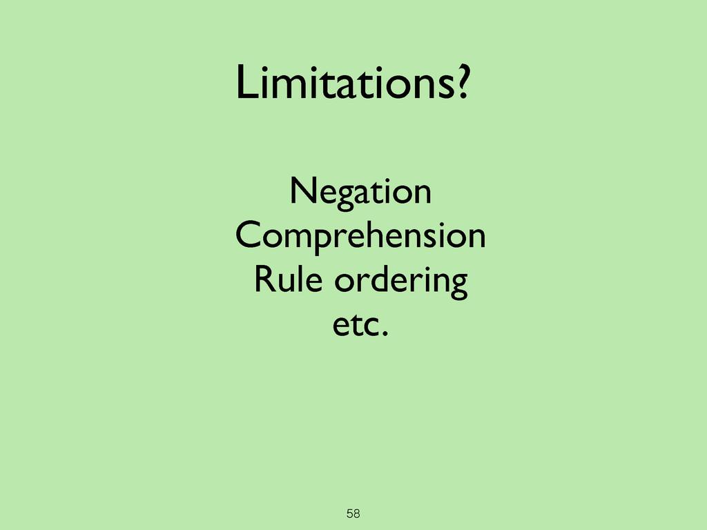 58 Limitations? Negation  Comprehension  Ru...