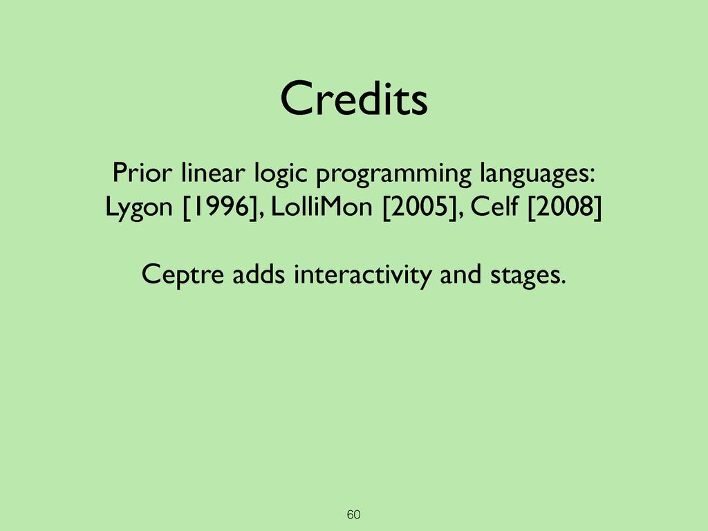 60 Credits  ! Prior linear logic programming ...