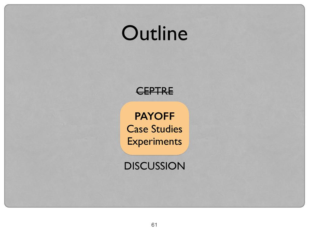 CEPTRE  ! PAYOFF Case Studies  Experiments...