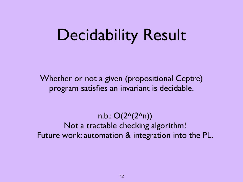 72 Decidability Result Whether or not a given (...