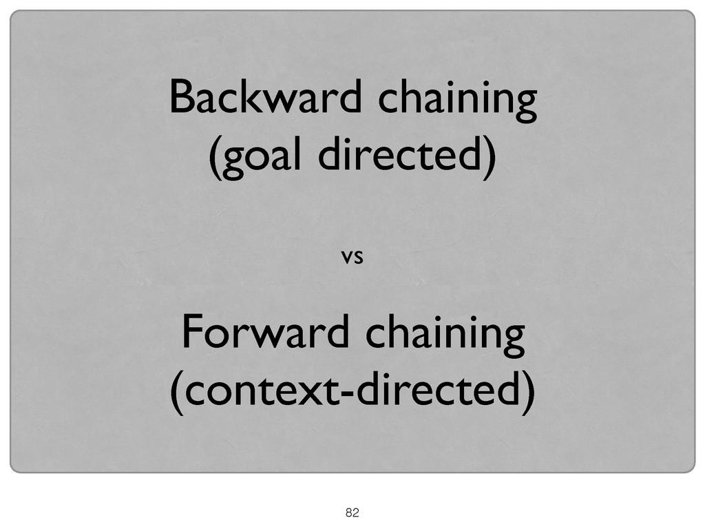 Backward chaining   (goal directed)  ! vs ...