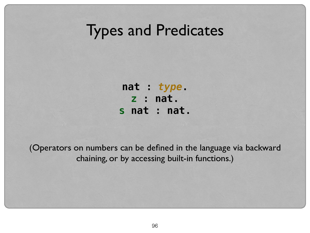 Types and Predicates nat : type. z : nat. s nat...