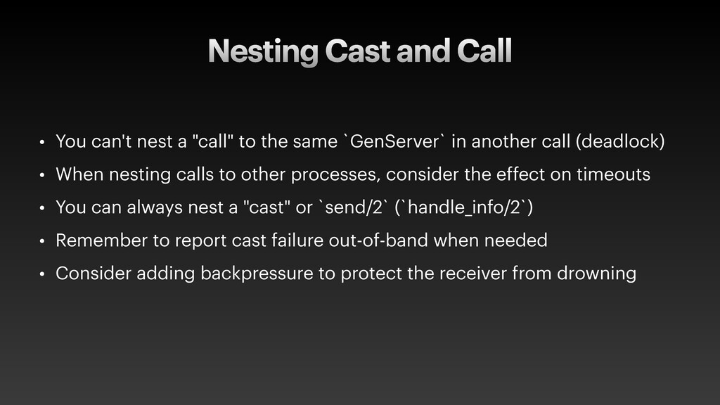 """Nesting Cast and Call • You can't nest a """"call""""..."""