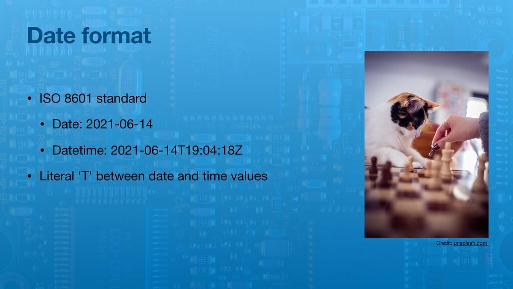 Date format • ISO 8601 standard  • Date: 2021-0...