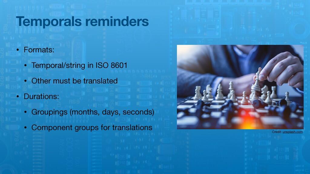 Temporals reminders • Formats:  • Temporal/stri...