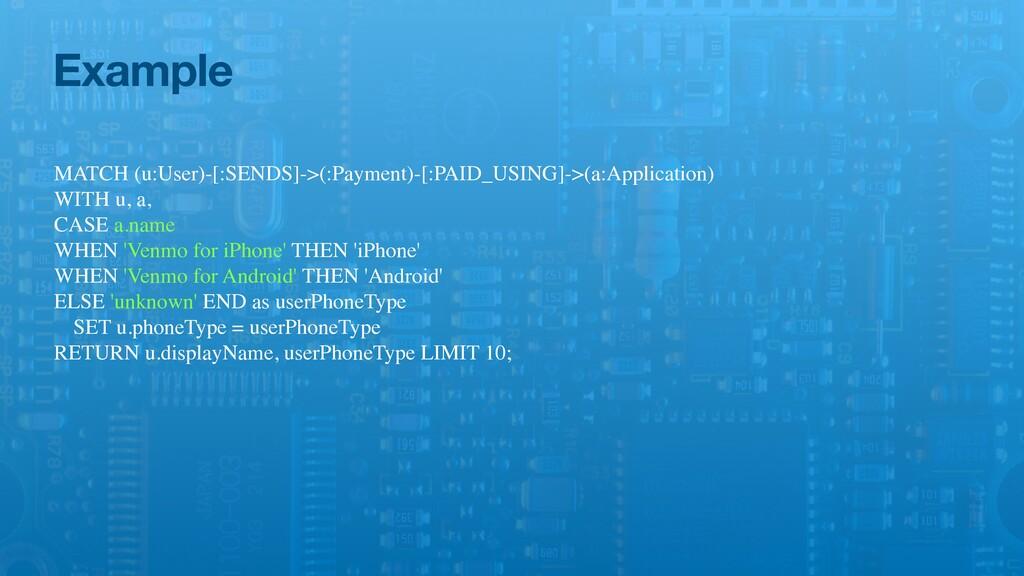 Example MATCH (u:User)-[:SENDS]->(:Payment)-[:P...