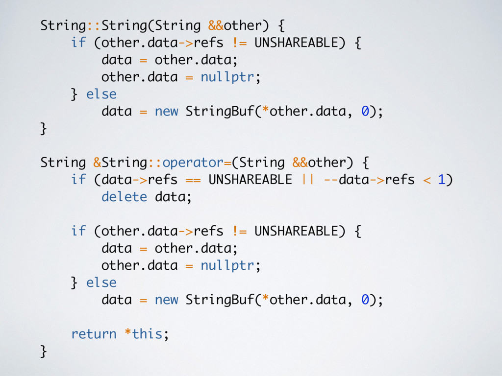 String::String(String &&other) { if (other.data...