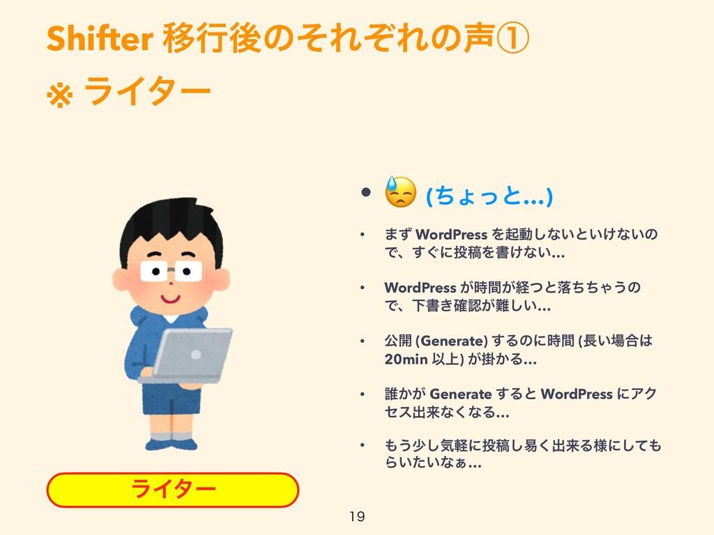 Shifter ҠߦޙͷͦΕͧΕͷᶃ   ※ ϥΠλʔ  ϥΠλʔ •  (ͪΐͬͱ…)...