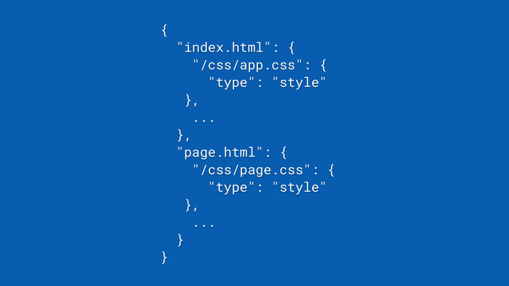 "{ ""index.html"": { ""/css/app.css"": { ""type"": ""st..."