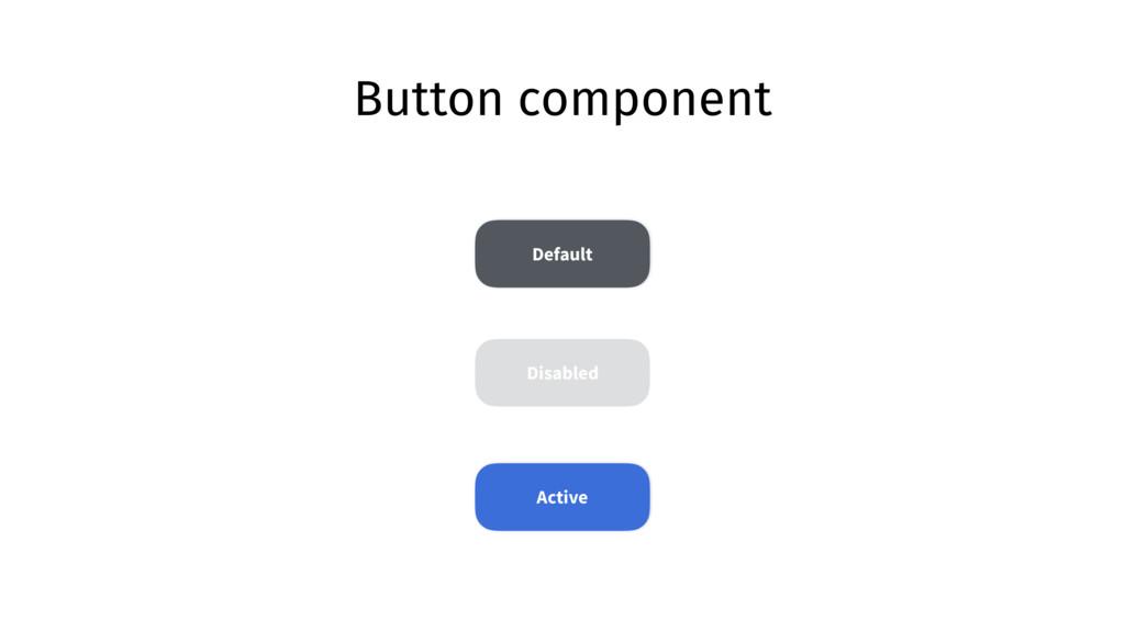 Button component Default Active Disabled