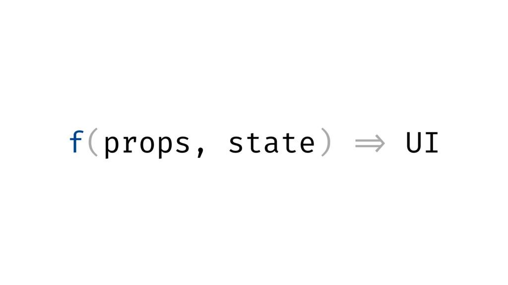 f(props, state) => UI