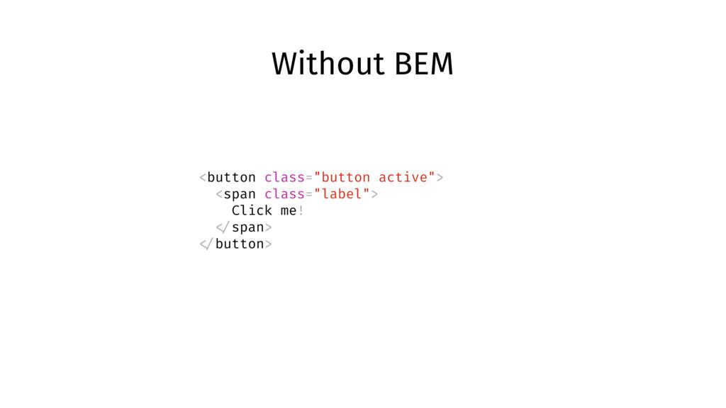 "Without BEM <button class=""button active""> <spa..."