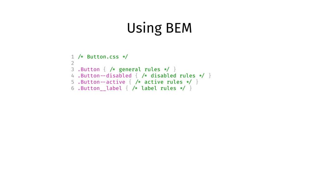 Using BEM 1 /* Button.css */ 2 3 .Button { /* g...