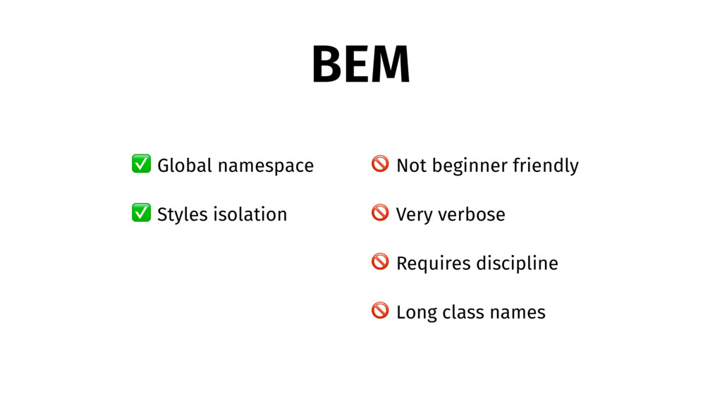 BEM ✅ Global namespace ✅ Styles isolation  Not ...