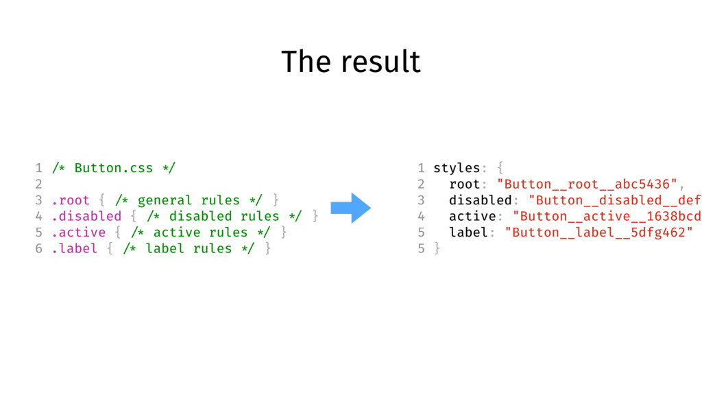 """The result 1 styles: { 2 root: """"Button__root__a..."""
