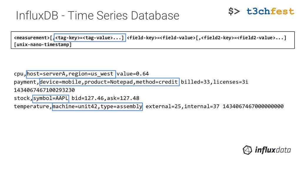 <measurement>[,<tag-key>=<tag-value>...] <field...