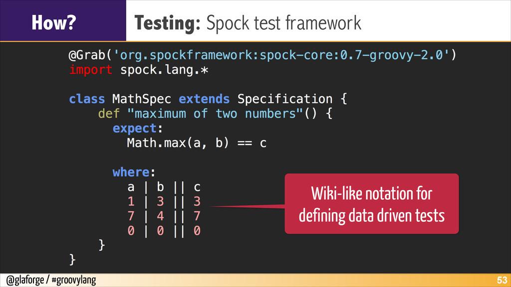 @glaforge / #groovylang How? Testing: Spock tes...