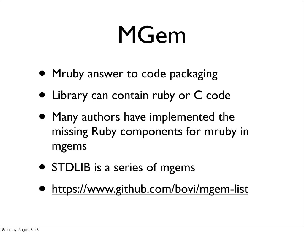 MGem • Mruby answer to code packaging • Library...