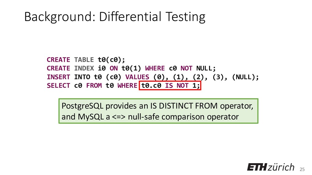 25 Background: Differential Testing CREATE TABL...