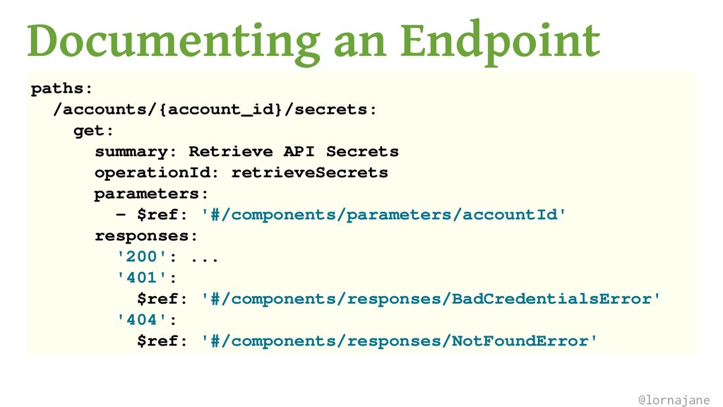 Documenting an Endpoint paths: /accounts/{accou...