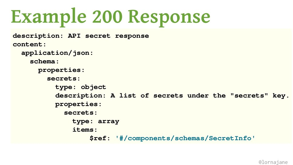 Example 200 Response description: API secret re...