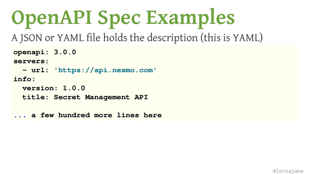 OpenAPI Spec Examples A JSON or YAML file holds...