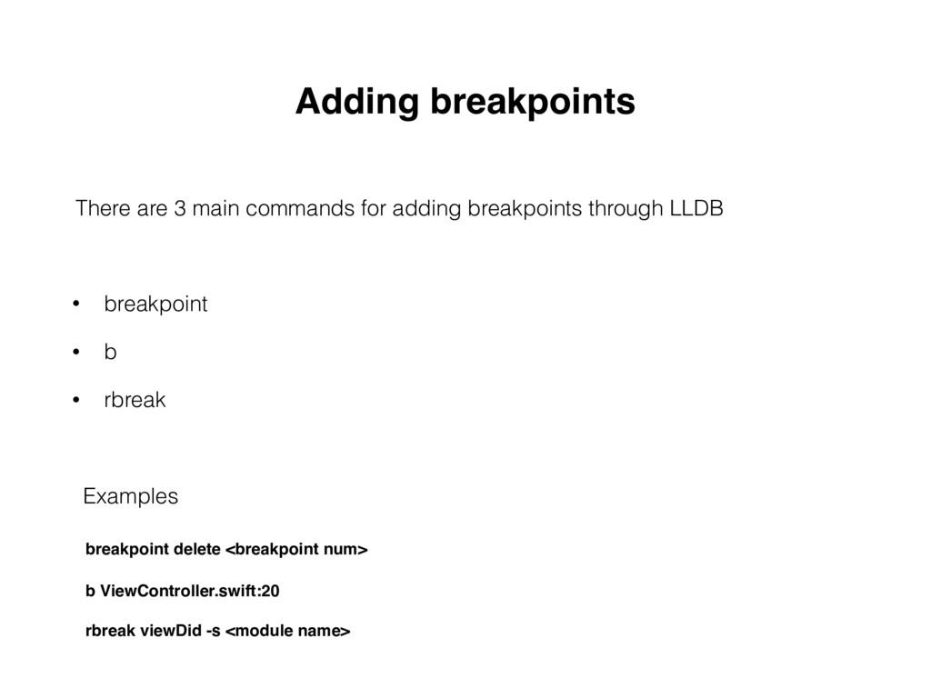 Adding breakpoints • breakpoint • b • rbreak Th...