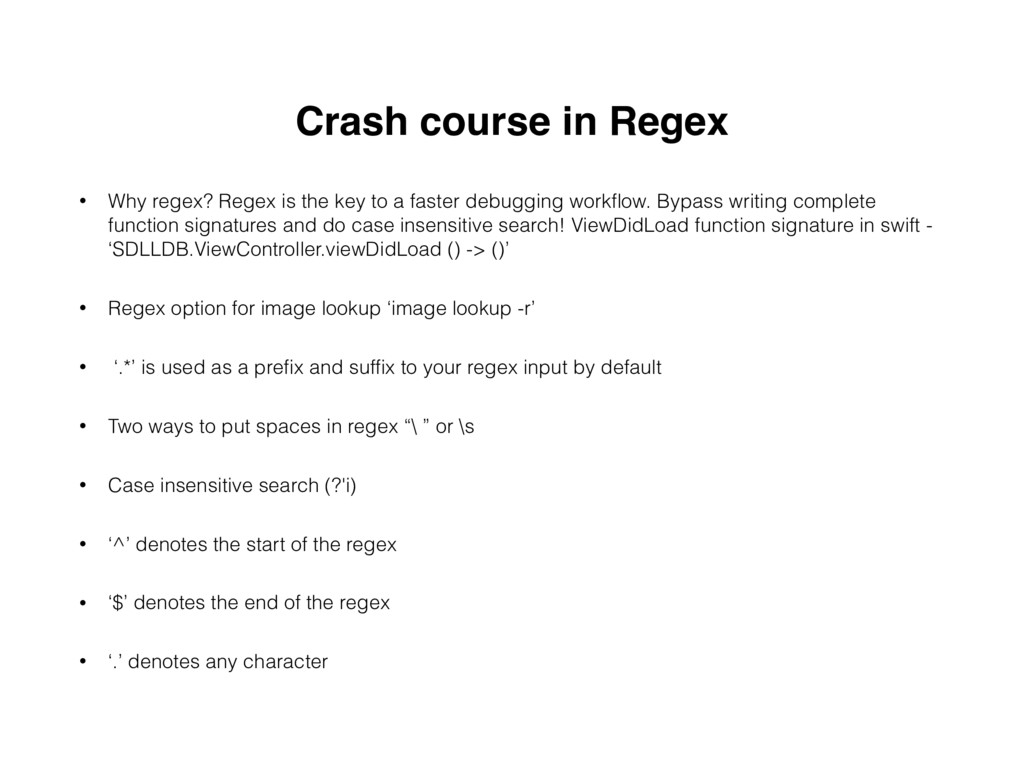 Crash course in Regex • Why regex? Regex is the...