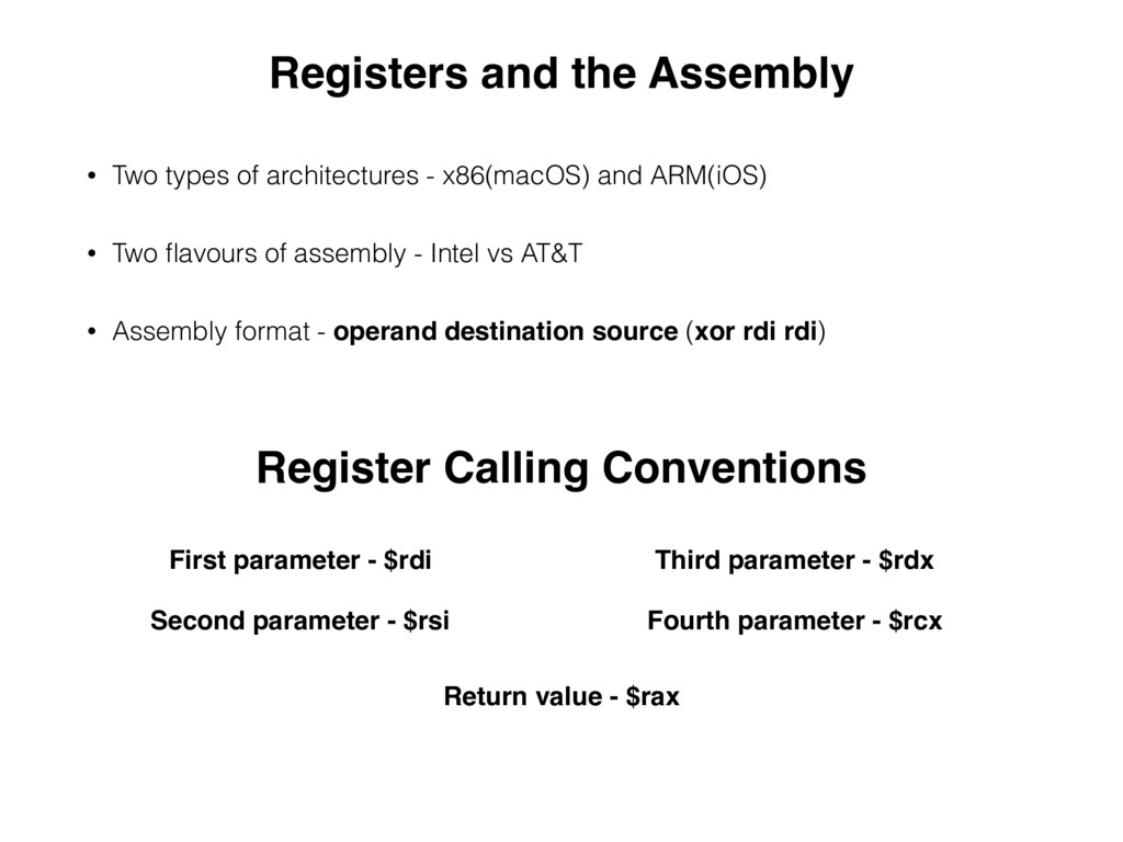 Registers and the Assembly • Two types of archi...